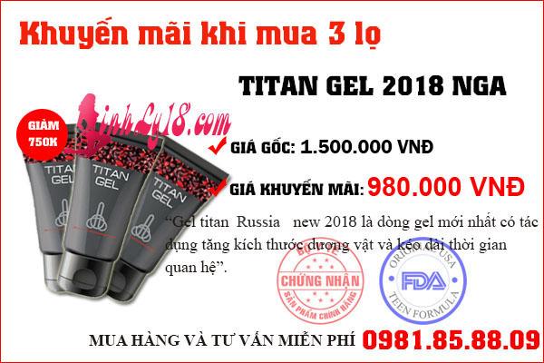 combo khuyến mãi 3 titan gel